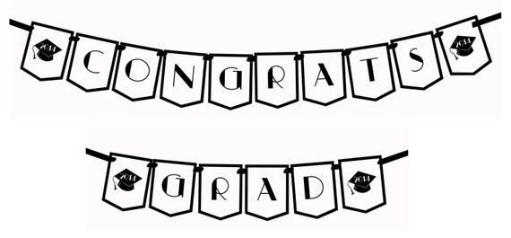 congrats grad deco black and white printable party by
