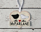 Mr and Mrs Love Bird Ornament ITH Embroidery Design