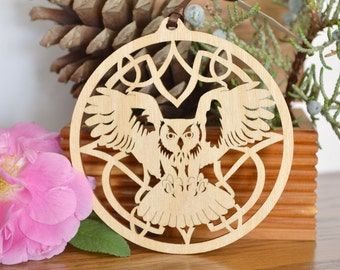 Owl ornament woodcut hanging desk window tree decoration Woodcut flying owl