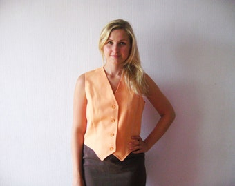 SALE Vintage Women Elegant Orange Vest Button Up Vest Made in USA Size 13/14