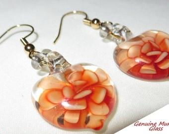 Earrings, Dangle Earring, Murano Glass Earrings, Glass Heart Earrings,