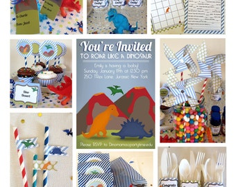 Dinosaur Baby Shower Printable Package & Dinosaur Shower Invitation, INSTANT DOWNLOAD, Editable, dinosaur invitation, Boy Baby Shower