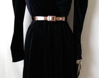 Vintage 1980's Black Velvet Dress