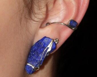 Earcuff- Lapis Lazuli,silver,handmade