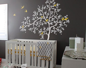 Baby nursery Blossom Tree vinyl wall decal, removable Flower tree sticker with birds -NT002