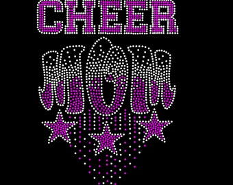 CHEERLEADER Or CHEER MOM You Choose Your Favorite Rhinestone Iron On Transfer Hot Fix Bling