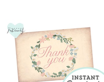 INSTANT Download Thank You Card -  Printable 4x6 - Vintage Peach Background - No.287