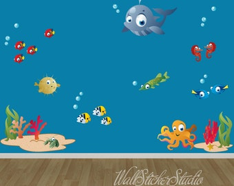 Fish Wall Sticker Decals, Under The Sea Wall Decal, Kids Wall Decal, WSS4 Part 48