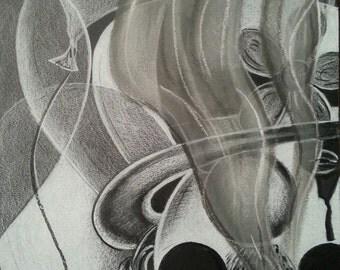 Through The Cloud Original Reproduction Print Pastel Drawing