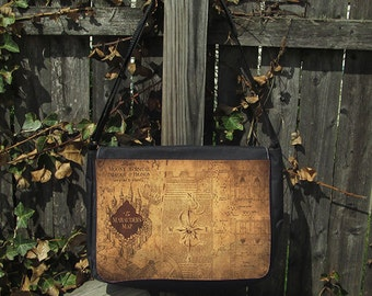 Marauder's Map Back to School Large Messenger Bag Bookbag, Field Bag, Crossbody, Reporter Bag