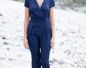 Women's Formal Jumpsuit in Navy Blue . FREE SHIPPING !