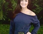Ego Girl Outfitter Women Soft Wide Neck Long Sleeve Sweatshirt Sweater Shirt (Navy Blue), Featuring Olive Green Bass Fish