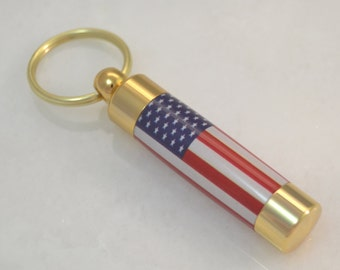 LDS Consecrated Oil Vial with the Flag of the United States of America Key Chain