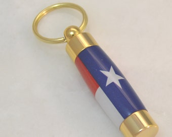 LDS Consecrated Oil Vial with the Flag of Texas Key Chain