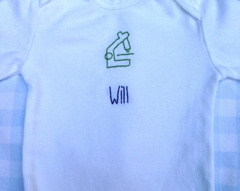 Organic baby onesie - hand embroidered cotton
