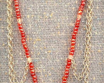 Coral Pink Glass Flower Chain Necklace