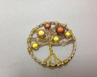 Gold Miracle Bead and Swarovski Crystal Beaded Tree of Life Pendant, Beaded Tree of Life Pendant, Tree of Life, Bubble Tree, Tree Jewelry