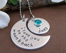 I Love You To The Moon & Back Crescent Moon Necklace | Personalized Mothers Birthstone Moon Necklace | Mommy Necklaces