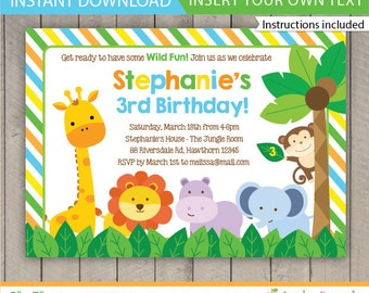 safari invitation / Safari Birthday invitation / Jungle Safari Invitation / Safari Invite / Zoo Birthday Invitation / INSTANT DOWNLOAD