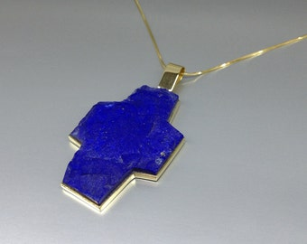 Pendant of raw stone Lapis Lazuli a statement pendant with 18K gold-gift idea- solid gold - big unique cross design - AAA Grade afghan Lapis