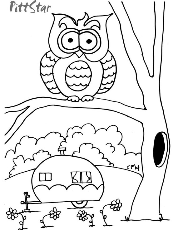 retro owl coloring pages | Instant Download Owl & Vintage Travel Trailers by PittStar