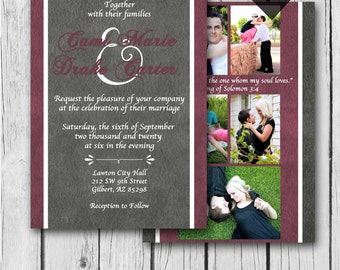 Any Color Wedding Invitation, Photo Collage, Grey, Maroon, Ampersand - Wedding, Bridal Shower, Baby Shower, Birthday - Digital and Printed