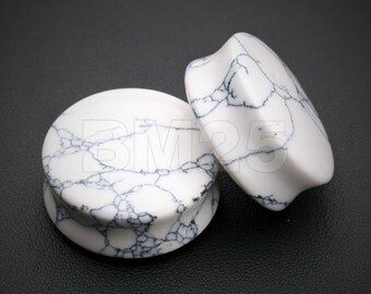 A Pair of White Howlite Stone Double Flared Ear Gauge Plug