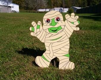 Halloween Mummy Outdoor Wood Yard Art Lawn Decoration