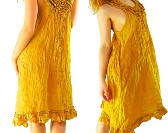 Kurta dress Goddess dress Pure Cotton Fairy Dress Flowing light Elegant Ruffle collar  Boho Chic