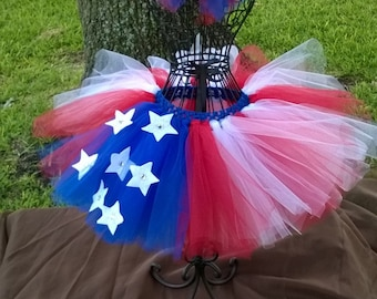 Premie-Child Red Pinwheel Bow with 4th of July Tutu