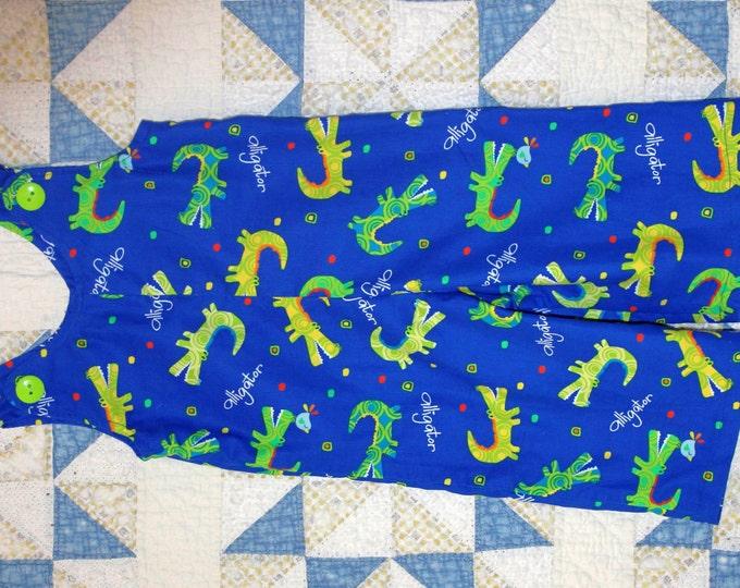 HALF PRICE ** Alligator Overalls. Boy's Size 2T Corduroy Overalls Green Alligators on bright blue background. Back pocket.