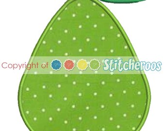 Pear Applique Design -In Hoop sizes5X7, 4X4 and Jumbo 9X9 - Instant Download - for Embroidery Machines
