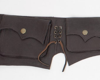 Four pockets steampunk pointy festival leather belt bag (utility belt) - Pombero (0012)