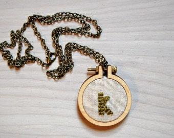 CUSTOM Mini Embroidery Hoop Necklace / Initial / Monogram / Bridesmaid Gift