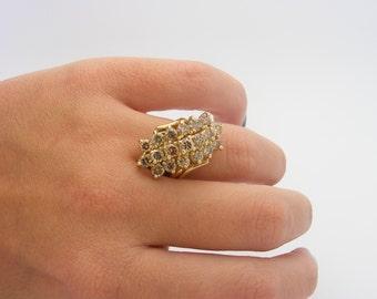 2.50 Carat Total Weight Diamond Cluster Ring. 14K Yellow Gold