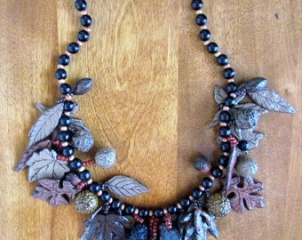 "Handmade/Vintage Papier Mache ""Autumn Leaves"" Necklace"