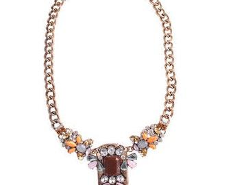 Brown statement necklace / bib necklace