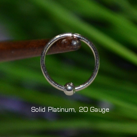 small solid platinum nose ring 20g hoop earring helix