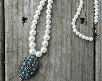 Handmade Turquoise Stone Pearl Necklace
