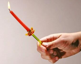 Shabbes Candle Holder, Shabbat candlesticks, Judaica menorah combined Lampwork Glass MADE IN ISRAEL