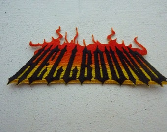 Hellbound Iron On Embroidered Patch Hell Devil Biker Chopper Tattoo Patches
