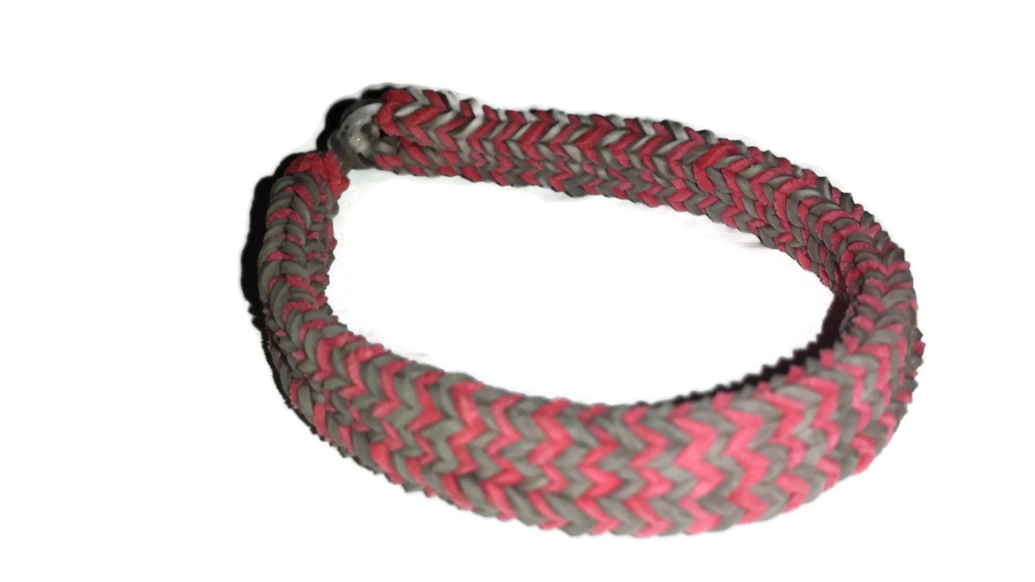Rainbow Loom Red and Gray FLAT Hexafish Bracelet. Any pattern