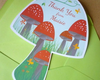 Personalized Toadstool Thank You Cards - Set of 20 cutout toadstool note cards for children - personalize with name - Free uk delivery