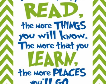 """Dr.Seuss """"The more you read..."""" green chevron border Instant download digital file"""