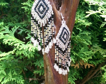 Hand Beaded Black and Silver earrings