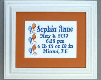 Balloons - Custom Embroidered Birth Announcement Keepsake