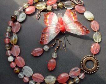 A wonderful Jewelry set. necklace earrings Quartz. natural stones Sets. necklace earrings Watermelon quartz.Cherry Quartz.Gift Ideas.for her