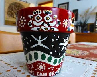 """We Can Be Together. 4.5"""" Terracotta Handpainted Pot"""