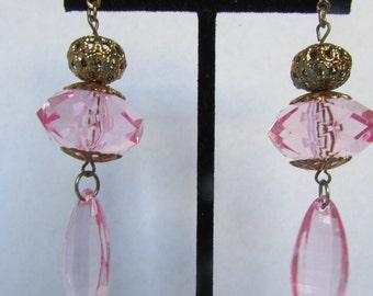 Vintage earring- Pink dangle drop earrings- 90s Jewelry