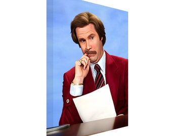 FREE SHIPPING: Anchorman Will Ferrell as Ron Burgundy CANVAS Art Painting